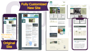 Coos History Museum site before and after homepage
