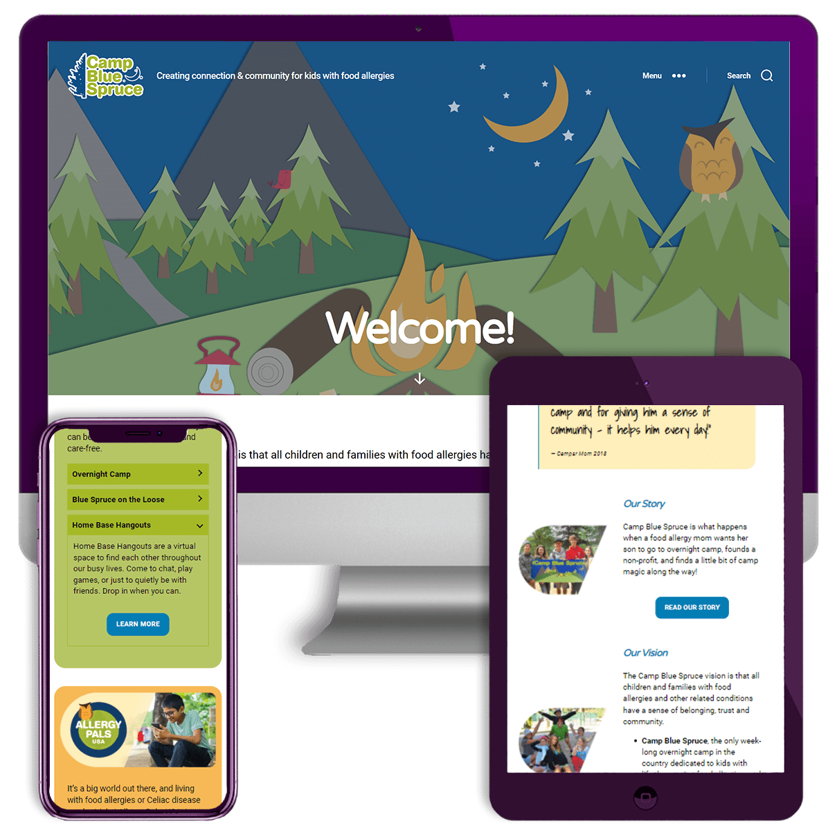 Camp Blue Spruce Website Screenshots