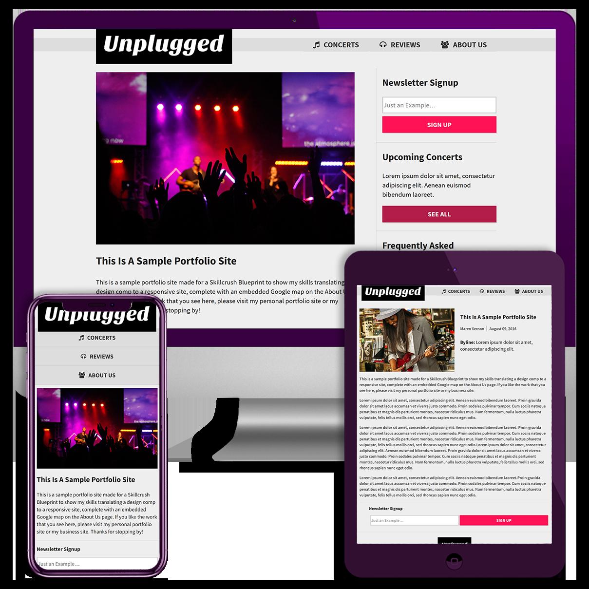HMTL and CSS Website Screenshots