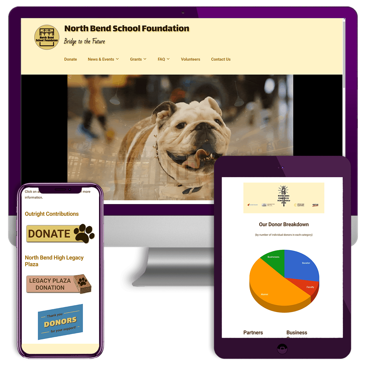 North Bend School Foundation Website Screenshots