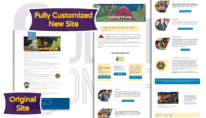 Camp Blue Spruce site before and after overnight camp page