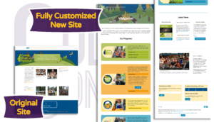 Camp Blue Spruce site before and after homepage