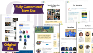 Camp Blue Spruce site before and after various pages
